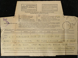 63 - Puy De Dome- Télégramme De Périgueux Pour Clermont Ferrand - Cachet Télégraphique Clermont Fd Central 1940 - Telegrafi E Telefoni