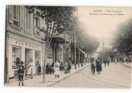 Rare AUX MIMOSAS Place GUYNEMER BIONDO  Terminus Des Tramways De Cannes Tramway Tram Bar Boutique  ANTIBES  N06 N279 - Altri