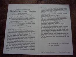 """Doodsprentje/Bidprentje Mj Elvire Clarysse Harelbeke 1918-1992 Kortrijk Oprichtst Maria Legioen """"De Kleine Zielen"""" Zaïre - Religione & Esoterismo"""