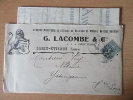 France - Timbre Semeuse 15c N°130 Sur Enveloppe Manufacture D'Armes G. Lacombe & Cie St Etienne - 1905 - 1877-1920: Semi-Moderne