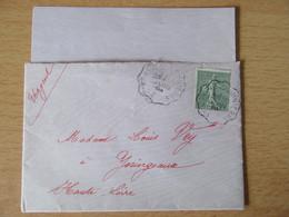 France - Timbre Semeuse 15c N°130 Sur Enveloppe 1904 - Ambulant St Agrève à Dunières (Ardèche) - 1877-1920: Semi Modern Period