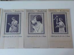 1920 1930 3 Grandes Publicités Carton Dur Pour Cacao & Chocolat Kwatta-Cida Femme Offert Par Sté Anonyme L' Elan - Advertising