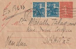 Carte Lettre 50c Semeuse Lignée+ Complément Affranchissement 2x 50 C Jeanne D'Arc. Tarif Express Pour Orange - Cartas