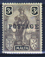 Malta 1926 Single 3d Stamp Overprinted Postage From The Definitive Set In Mounted Mint - Malta (...-1964)