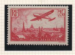 Timbre Neuf Poste Aérienne 1936 YT PA 11 - 2 F.50 Rose - Avion Postal Survolant Paris - 1927-1959 Mint/hinged