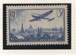 Timbre Neuf Poste Aérienne 1936 YT PA 12 - 3 F. Outremer - Avion Postal Survolant Paris - 1927-1959 Mint/hinged