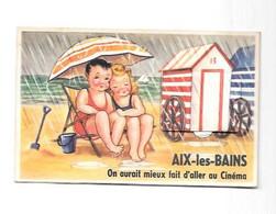 73 - AIX LES BAINS : Carte à Système, A La Plage, Cabine De Bains, - Aix Les Bains