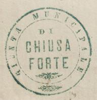 CHIUSAFORTE 21 GIU 77 D. C. + PUNTI Su 10 C. + TIMBRO COMUNALE VERDE SU PIEGO PER ANCONA - Poststempel