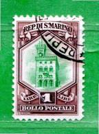 San. MARINO ° -1929 - SOGGETTI VARI. Lire.1 .  Unif. 149.   Usato - Gebraucht