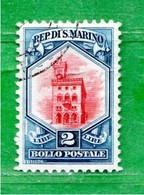 San. MARINO ° -1929 - SOGGETTI VARI. Lire.2 .  Unif. 152.   Usato - Gebraucht