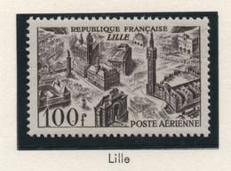Lot De 2 Timbres Neufs Poste Aérienne 1949 YT PA 24 Et 25 - 100 F. Brun-violet (Lille) Et 200 F. Vert (Bordeaux) - 1927-1959 Ungebraucht