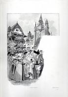 Gravure Illustration Du 19 ° Siècle -  Croquis Breton - Other