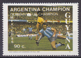 Guyana, 1986, Stamp From Aerogramme,  MNH **, Football World Cup Mexico 86, - 1986 – Mexiko