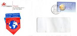 2003 Red EXPRES Correio Azul Int. Vignet On Cover Filatelia 1049 Lisboa - Euro Stamp 1.75 - Lettere