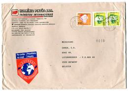 1993 Red EXPRES Correio Azul Int. Vignet On Large Cover Hermino Pintao To Antwerp - Cartas