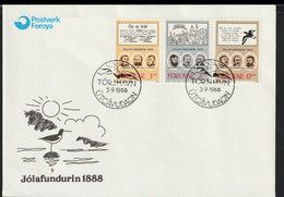 Faroe Islands FDC 1988 Jolafundurin 1888 (G124-28) - Faroe Islands