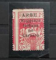 Arbe Reggenza Italiana Del Carnaro 1920  Cent. 10 N.2 Dentellatura Spostata A Sinistra * - Arbe & Veglia