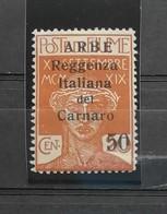 Arbe Reggenza Italiana Del Carnaro 1920 Cent. 50 Su 20 N.9 * - Arbe & Veglia