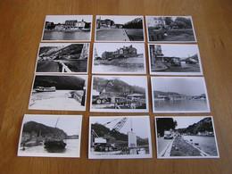 Lot De 24 Photographies Vallée De La Meuse Dinant Ecluses Travaux Waulsort Bâteau Anseremme Pont Hôtel Grue Camion - Sin Clasificación