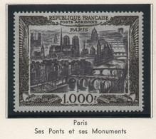 Timbre Neuf Poste Aérienne 1950 YT PA 29 - 1000 F. Noir Et Brun Violacé - Vue De Paris - 1927-1959 Mint/hinged