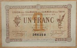 Albi, Castres, Mazamet ( 81 - TARN ) 1 Franc Chambre De Commerce 30-11-1914 - Chambre De Commerce
