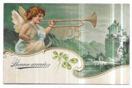 Gauffrée Ange Jouant De La Trompette Bonne Année 1905 - Angeli