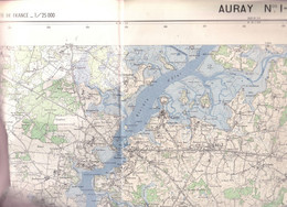 Auray  (Morbihan) Cartes  1-2  1/25 000 IGN   1961 - Carte Geographique