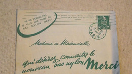 Enveloppe Publicitaire, Bas Merci , Entier Postale, 1954 - Werbung