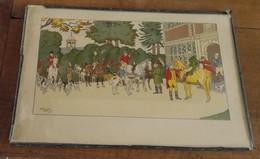 Estampe Originale D'HARRY ELIOTT Départ à La Chasse à Courre 1882-1959 - Estampes & Gravures
