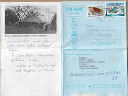 PAPUA NEW GUINEA 1988 AEROGRAM With Letter Inside, Posted 2 Stamps AEROGRAMME USED - Papua New Guinea