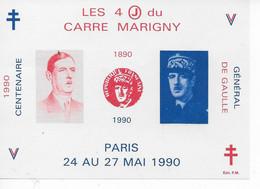 """Bloc Souvenir """"Les 4 Jours Du Carré Marigny-1990"""" Anniversaire De La Naissance Du Général De Gaulle 1890-1990 - Souvenir Blocks & Sheetlets"""