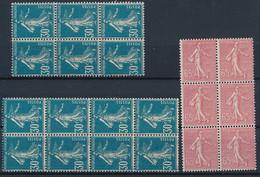 EC-4: FRANCE: Lot Avec  N°195** (blocs De 6 Et 8)-201 Bloc De 6 - 1903-60 Sower - Ligned