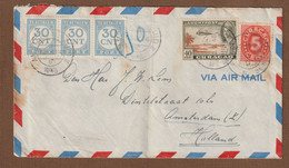 Curacao Brief Luchtpost    02-09-1946  Naar Amsterdam   Met Strafport  Met  Vouw - Curazao, Antillas Holandesas, Aruba