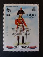 GRENADA 1970 British Red 424 Scott 396 OVERPRINT WINTER OLYMPICS SAPPORO MNH - Grenada (1974-...)