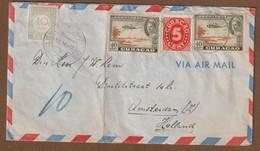 Curacao Brief Luchtpost 18-10-1946  Naar Amsterdam   Met Strafport  Met  Vouw - Curazao, Antillas Holandesas, Aruba