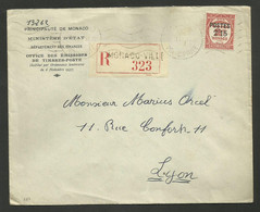 Taxe Surchargé 2F15/ 2F / Lettre Recommandée MONACO VILLE 11.02.1938 >>> LYON - Covers & Documents