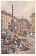 5101) WIEN - BLUMENMARKT - Wiener Künstler Postkarte - Signiert HOFECKER _ Alt !! - Altri
