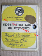 SFRJ Yugoslavia, Serbia / GSP Beograd, Belgrade - Annual Ticket With Monthly Coupons For Students ( 1976 - 77 ) - Europe
