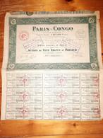 1 ACTION -  S.A  PARIS CONGO - Action  De 100 Francs Au Porteur  - 1925 - Non Classificati
