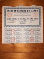 1 ACTION -  MINES Et GRAPHITE Du MAROC ( Action Nouvelle De 2500 Francs ) 1928 - Miniere