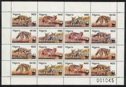 WWF Side-striped Jackal Sheetlet Of 4 Sets Nigeria 2003 MNH SG#809-812 MI#762-765 SC#759-762 CV€20.- - Perros