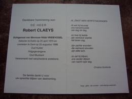 Doodsprentje/Bidprentje  Robert CLAEYS (Echtg H.VINDEVOGEL) Eeklo 1915-1998 Gent  Oud Kulder  / Oud Muzikant - Religione & Esoterismo