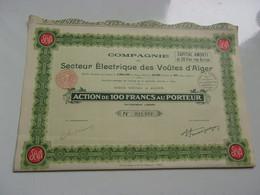 SECTEUR ELECTRIQUE DES VOUTES D'ALGER (capital 3 Millions) ALGERIE - Non Classificati