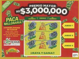 République Dominicaine Loterie Instantanée Paca Millonaria - Lottery Tickets
