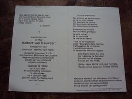 Doodsprentje/Bidprentje  Herbert Van Hauwaert(Echtg M.Van Ranst) Tienen 1904-1989 Merelbeke  Ere-Direct. Min/Burg Ir RUG - Religione & Esoterismo