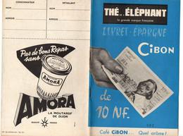 Livret-épargne Thé De L'éléphant Cibon De 10 NF Café Cibon Quel Arôme ! Publicités Panzani, Huile Calvé, Amora De1966 - Food
