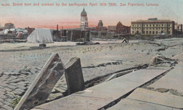 San Francisco California, 1906 Earthquake Scene, Street Torn Up, C1900s Vintage Postcard - San Francisco