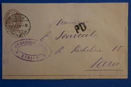 S27 SUISSE BELLE LETTRE 1874 VOYAGEE   ZURICH A PARIS FRANCE + P.D +AFFRANCHISSEMENT PLAISANT - Brieven En Documenten