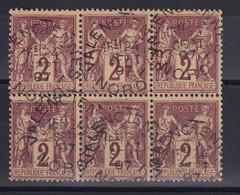 D 181 / LOT SAGE N° 85 BLOC DE 6 OBL COTE 40€ - 1876-1898 Sage (Type II)