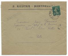 5c SEMEUSE SUR ENVELOPPE  MONTPELLIER 1920 / DAGUIN , PRESENCE DU PISTON TOUCHEUR - 1877-1920: Periodo Semi Moderno